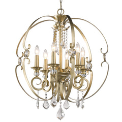 Ella 6 Light Chandelier in White Gold with Crystal Accents