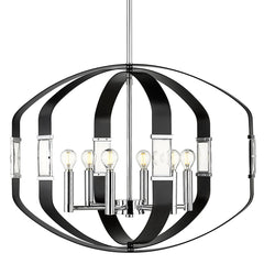 Ariana 6 Light Pendant in Chrome with Matte Black Accents and Crystals