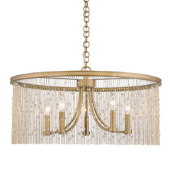 Marilyn 5 Light Chandelier in Peruvian Gold and Crystal Chain Shade