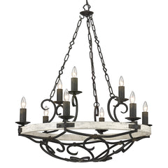 Madera 9 Light Chandelier in Antique Black Iron with Coastal Drift Wood Accents
