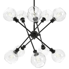 Axel 10 Light Chandelier in Matte Black with Seeded Globe Glass Shades