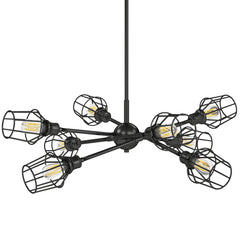 Axel 8 Light Chandelier in Matte Black with Matte Black Wire Shades