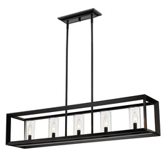 Smyth Linear Pendant in Matte Black with Clear Glass