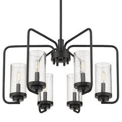 Holden 6 Light Chandelier in Matte Black with Seeded Glass