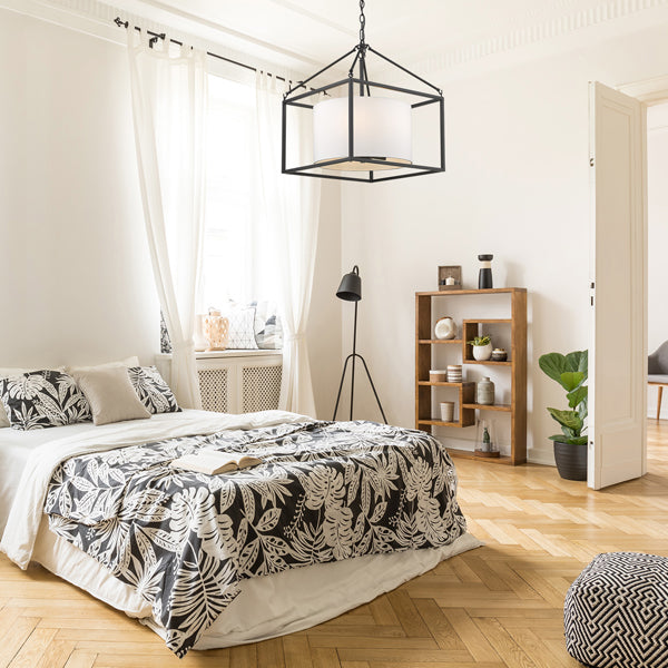 2243-5 BLK-MWS fixture hanging above bed in bedroom