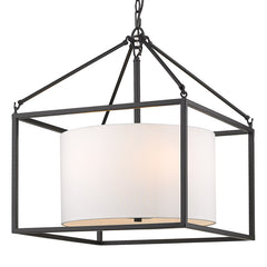 Manhattan 5 Light Chandelier with a Modern White Shade and Matte Black Cage
