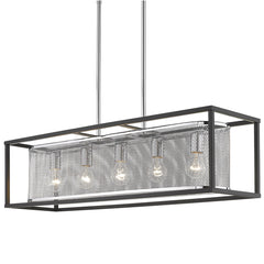 London Linear Pendant in Chrome with a Matte Black Cage