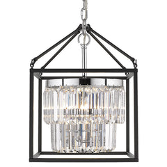 Paris 3 Light Pendant with Crystals in a Matte Black Cage