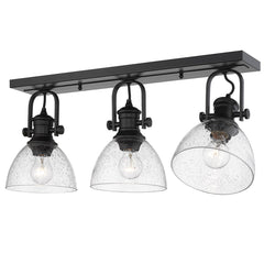 Hines 3 Light Semi-Flush in Matte Black with Seeded Glass Shades