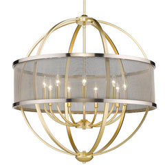 Colson 9 Light Chandelier in Olympic Gold with Pewter Mesh Shade