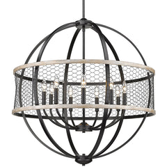 Roost 9 Light Chandelier with Chicken Wire Shade