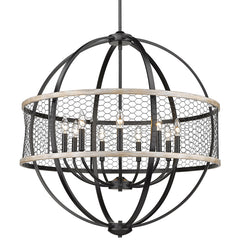 Roost 9 Light Chandelier in Matte Black with Chicken Wire Shade