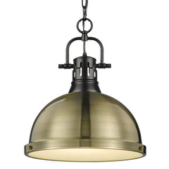 Duncan Large Pendant in Matte Black with Aged Brass Shade