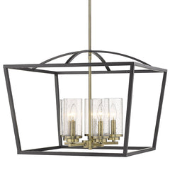 Mercer 5 Light Chandelier in Matte Black with Aged Brass Accents and Seeded Glass