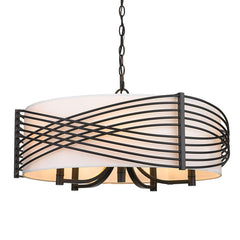 Zara 5 Light Chandelier in Matte Black with Modern White Shade