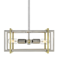 Tribeca 4 Light Pendant in Pewter with Aged Brass accents