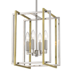 Tribeca 4 Light Chandelier in Pewter with Aged Brass accents
