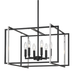 Tribeca 6 Light Chandelier in Matte Black with Pewter Accents