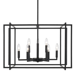 Tribeca 9 Light Chandelier in Matte Black with Matte Black Accents