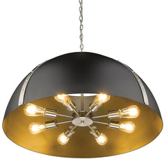 Aldrich 8 Light Pendant in Pewter with Matte Black Shade