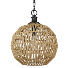 Florence Medium Pendant in Matte Black with Natural Rattan Rope