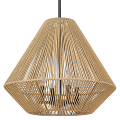 Valentina 4 Light Pendant in matte Black with Natural Rattan Rope
