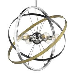 Atom 6 Light Chandelier in Chrome with Brushed Steel and Aged Brass Accents