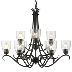 Parrish 9 Light Chandelier in Matte Black with Seeded Glass