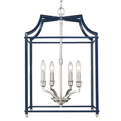 Leighton 4 Light Chandelier in Pewter with Navy Cage