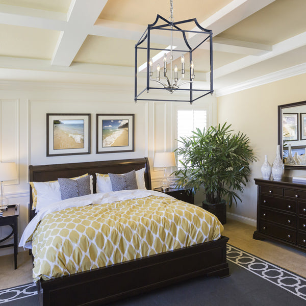 8401-6P PW-NVY fixture hanging above bed in bedroom