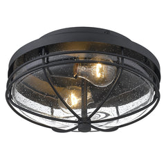 Seaport Outdoor Flush Mount in Natural Black with Seeded Glass