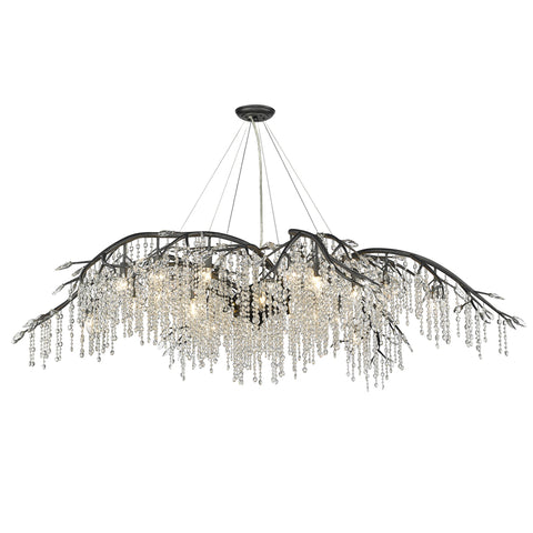 Autumn Twilight 24 Light Chandelier in Black Iron with Clear Crystal Accents