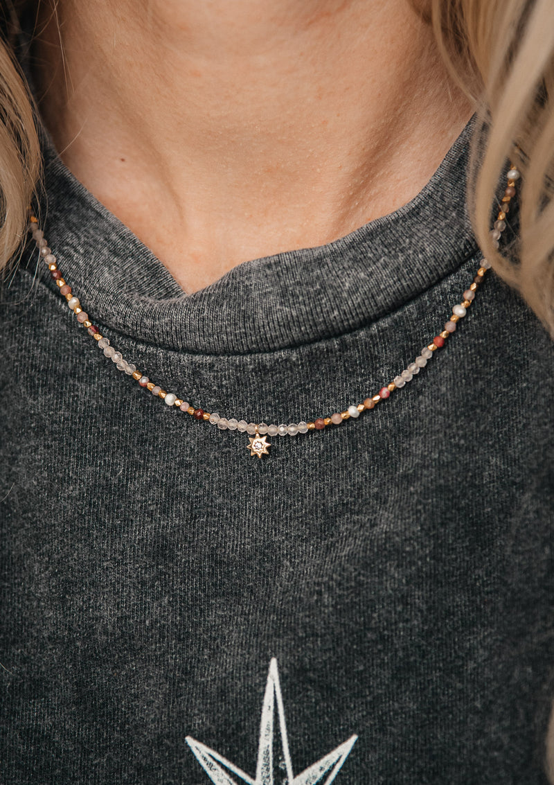 Collier quartz rose, tourmaline et perle - Self Love