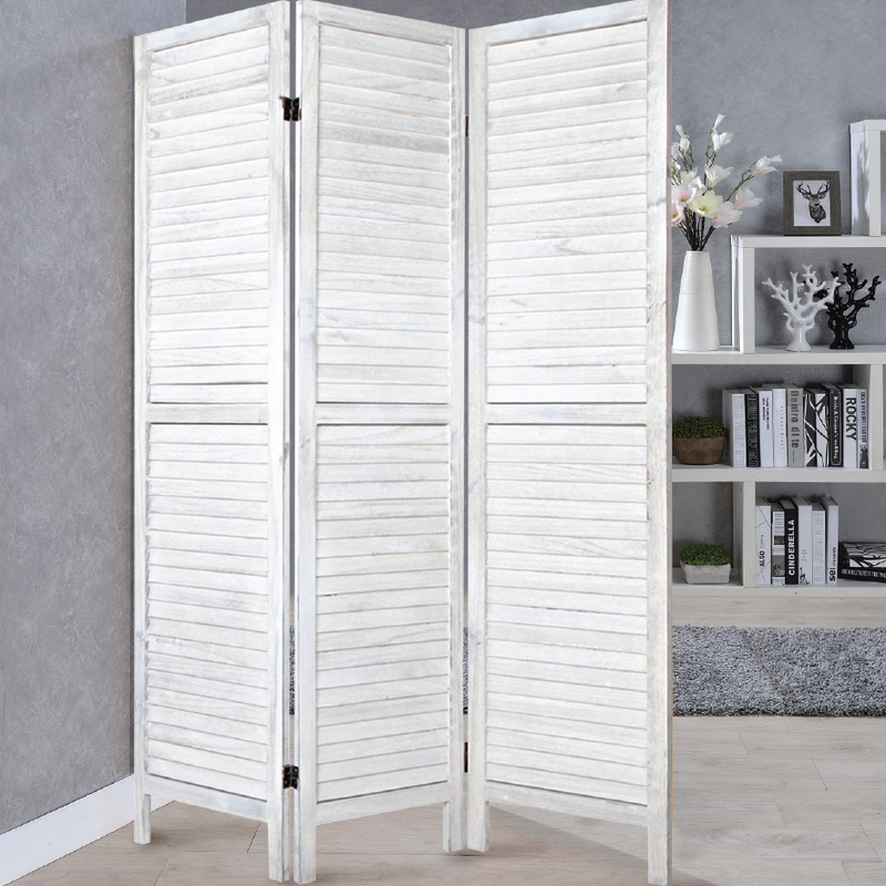WHITE 3-Panel Solid Wood Privacy Screen