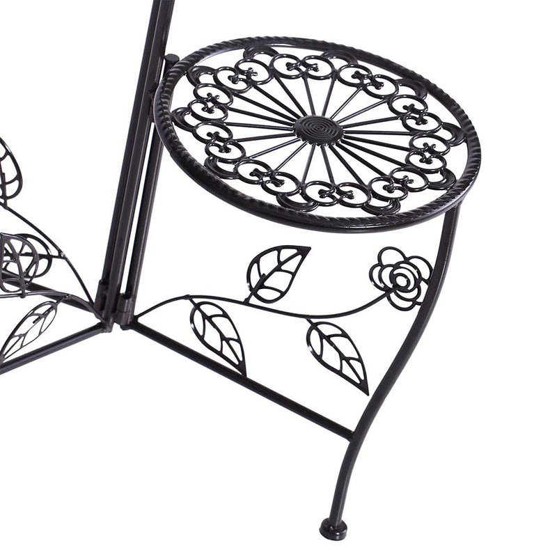 Plant Stand Outdoor Indoor Flower Pots Garden Metal Corner Shelf Wrought Iron