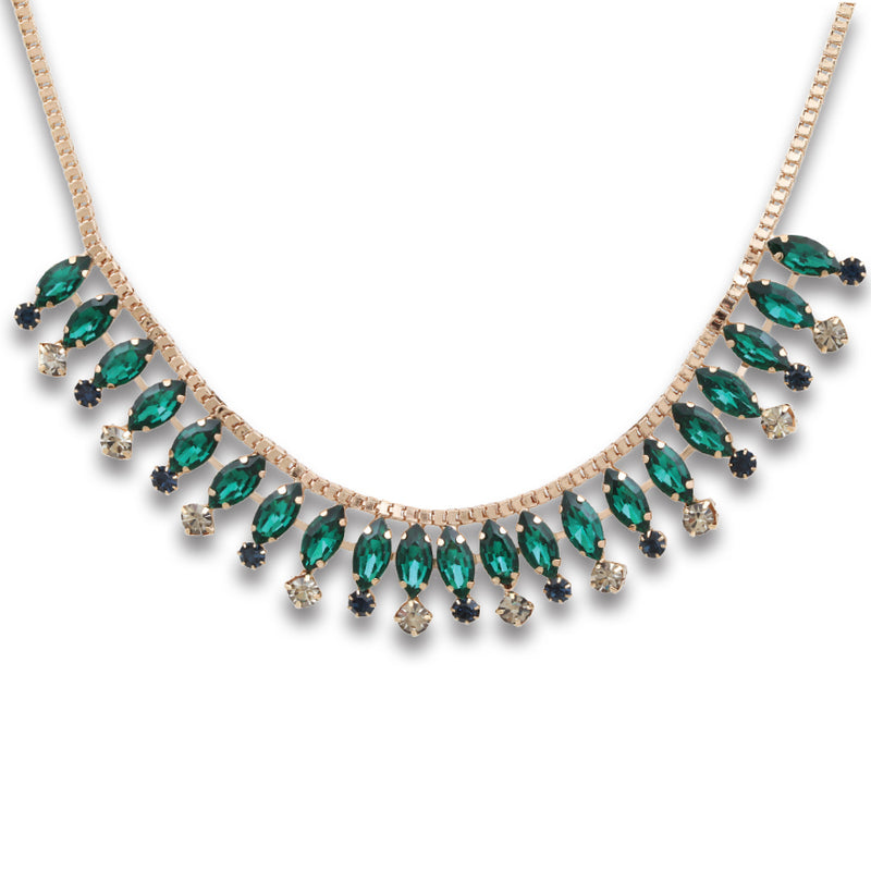 EMERALD AND CUBIC ZIRCONIA NECKLACE