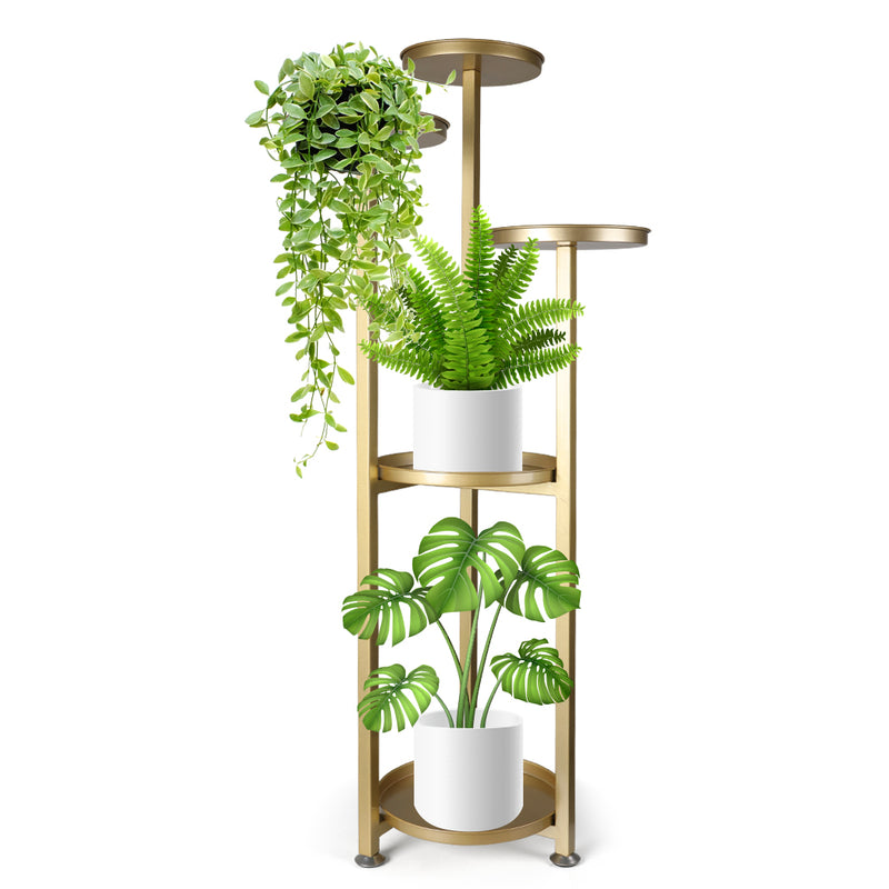 Levede Plant Stand Outdoor Indoor Flower Pots Rack Garden Shelf Gold 120CM