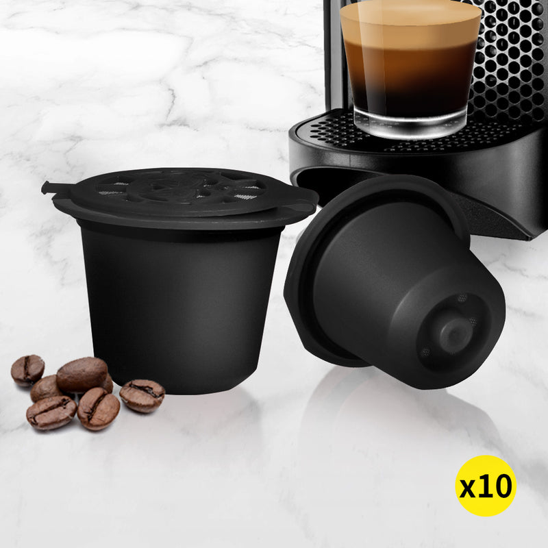 10x Refillable Reusable Coffee Filter Capsules Pods Pod for Nespresso Machine Black