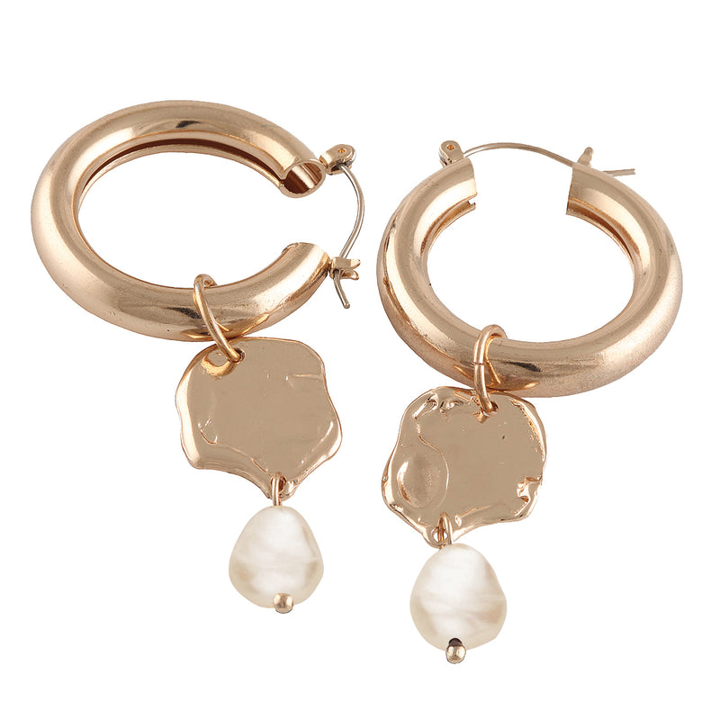 Created Pearl Hoop Drop Earrings