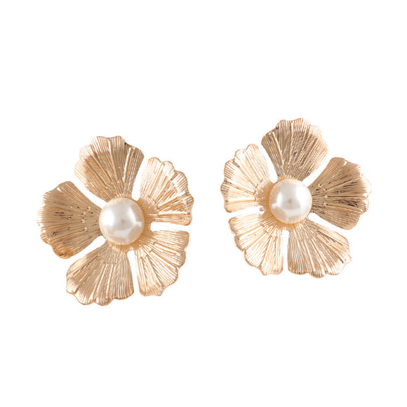 FLOWER PEARL PIERCED EARRINGS