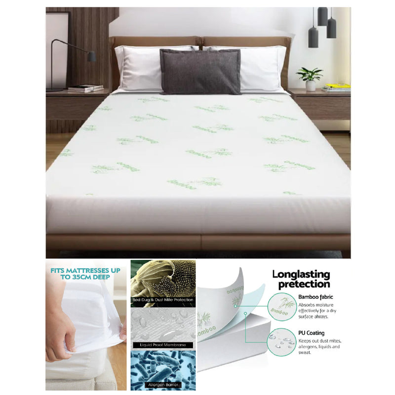 QUEEN SIZE WATERPROOF BAMBOO FIBRE MATTRESS PROTECTOR