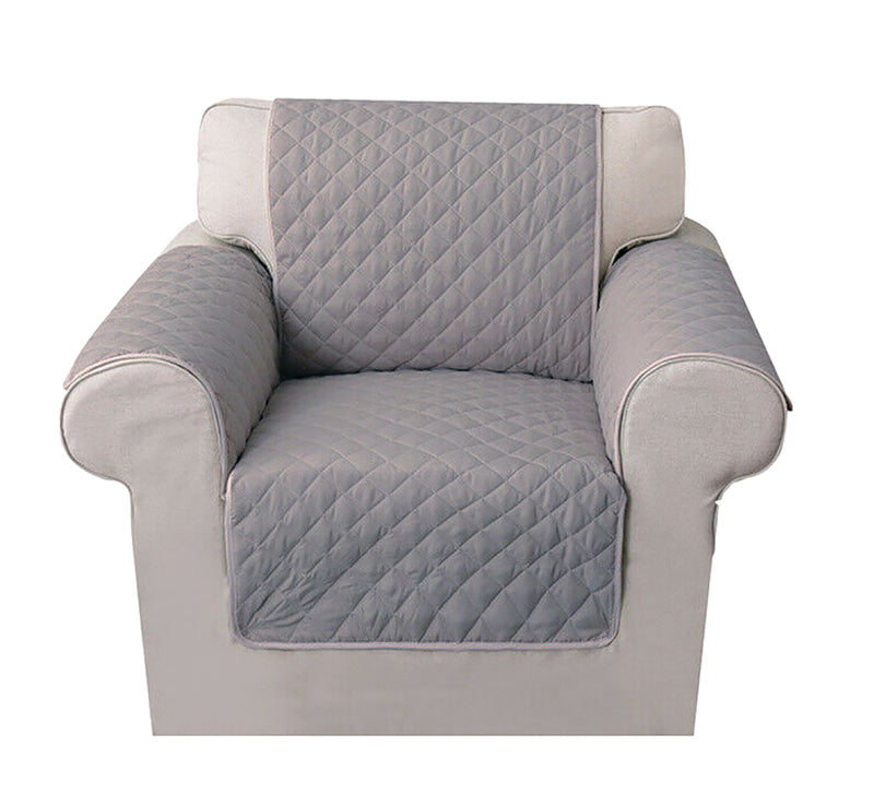 GREY Quilted Cover for 1 Seater Sofa