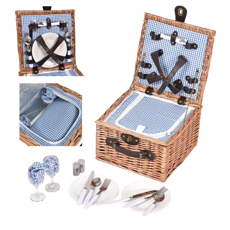 INSULATED DELUXE 2 PERSON PICNIC BASKET SET