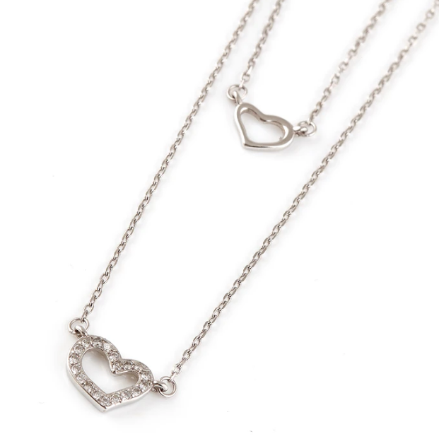 DOUBLE HEART CUBIC NECKLACE