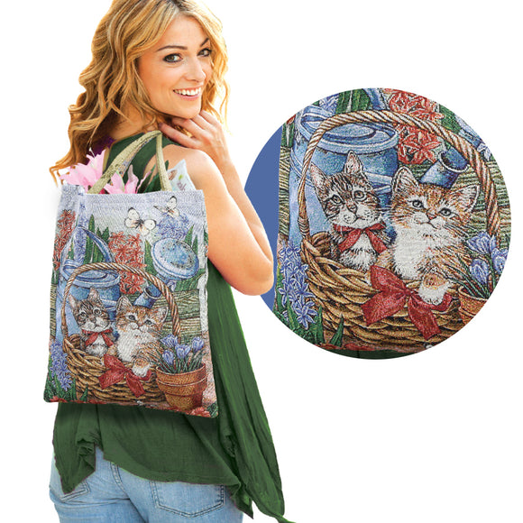 CAT LOVERS TAPESTRY STYLE HANDBAG