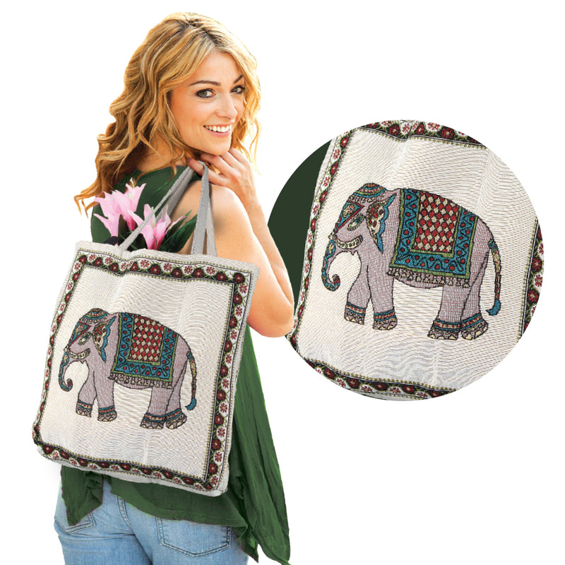 LUCKY ELEPHANT TAPESTRY STYLE TOTE BAG