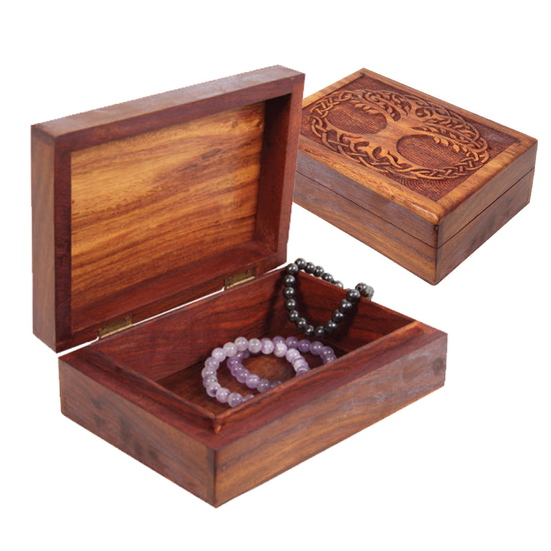 TREE OF LIFE WOODEN JEWELLERY BOX