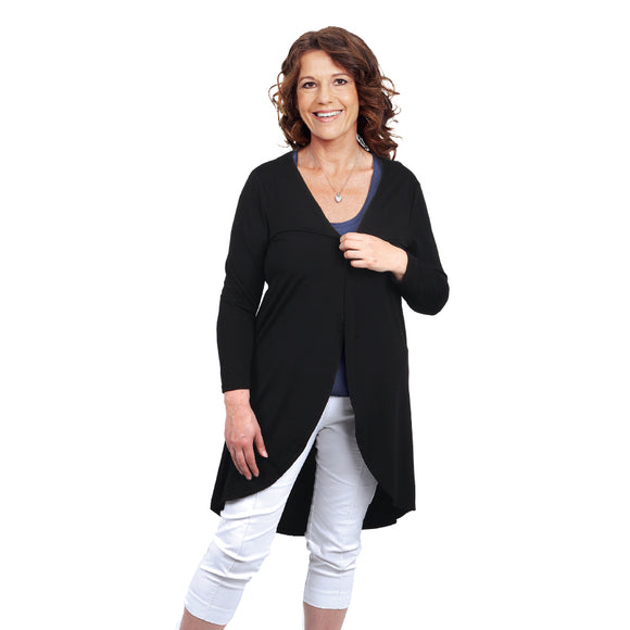 BLACK BIASED BACK DRAPE KAFTAN