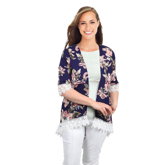 NAVY FLORAL LIGHT KAFTAN JACKET