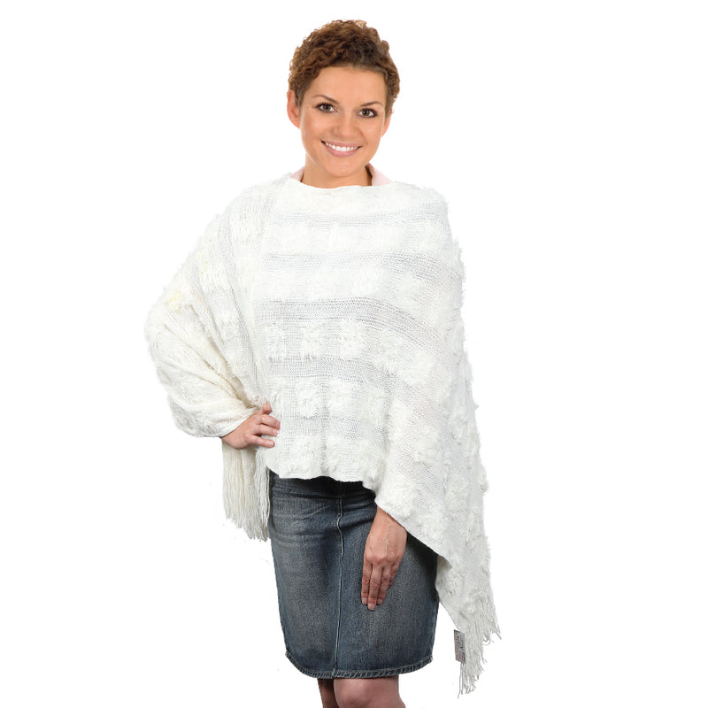 CONSTANCE WHITE KNITTED SHAWL